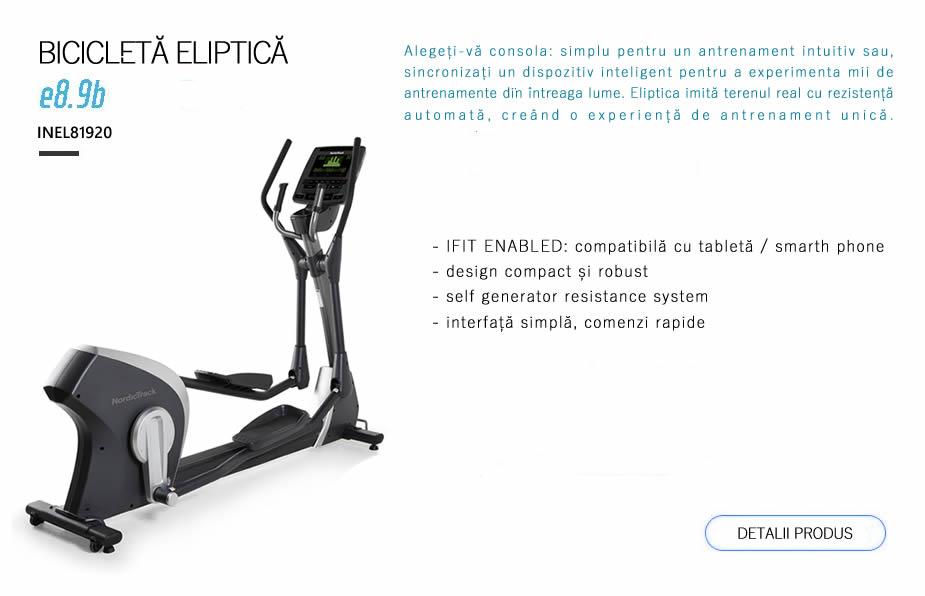 Bicicleta eliptica profesionala NordicTrack E8.9b. INEL81920. Alegeți-vă consola: simplu pentru un antrenament intuitiv sau, sincronizați un dispozitiv inteligent pentru a experimenta mii de antrenamente din întreaga lume. Eliptica imită terenul real cu rezistență automată, creând o experiență de antrenament unică.