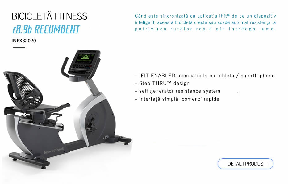 Când este sincronizată cu aplicația iFit® de pe un dispozitiv inteligent, această bicicletă crește sau scade automat rezistența la potrivirea rutelor reale din întreaga lume.